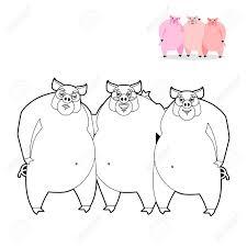 3 Porcs De Livre De Coloriage Trois Petits Cochons Dans Le Style