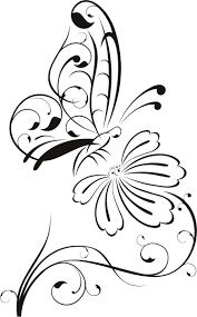 Butterfly on Flower Outline Floral Wall Decal Wall Stickers