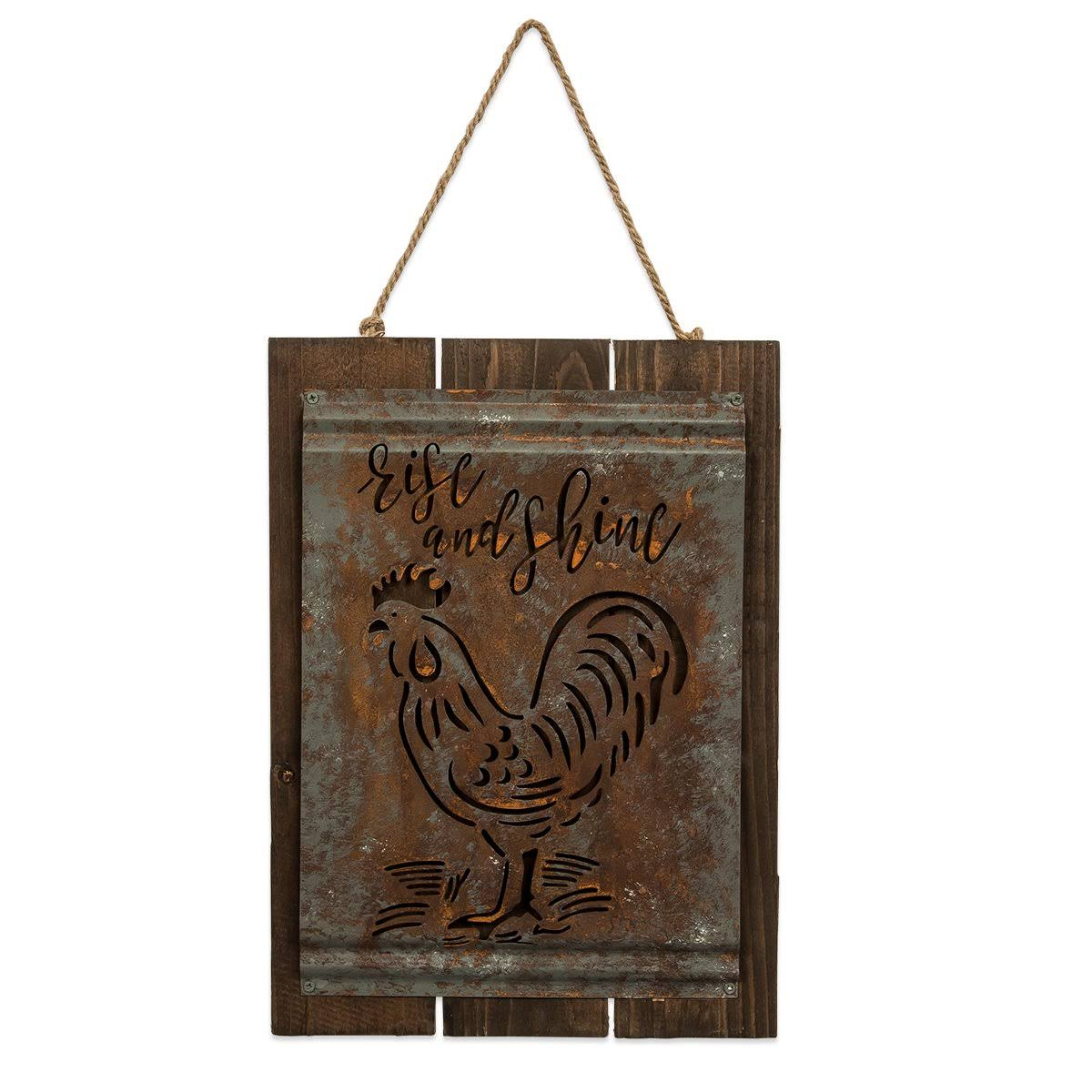 Brownlow Gift 170522 Acid Wash Sign - Rise & Shine, 13 x 10 in.