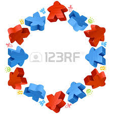 Hex Frame Of Meeples For Board Games Red And Blue Game Pieces Resources