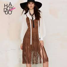 Aliexpress Buy 2016 New Arrival Womens Fashion Spring Summer Style Bohemian Tassel Slip Dress Camisole Women V Neck Strap Boho Dresses CQ0047 From