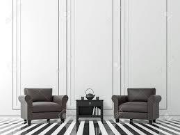 modernes weinlesewohnzimmer mit schwarzweiss bild der wiedergabe 3d weißes wohnzimmer es gibt einen schwarzweiss boden wanddekor mit schwarzer rille