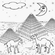 Camels And Pyramid Egypt Nighttime Sky New Moon Playgroup Printable Picture Kids Coloring Activities