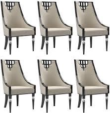 casa padrino luxus deco esszimmer stuhl set beige schwarz silber 55 x 55 x h 105 cm edles küchen stühle 6er set deco esszimmer möbel