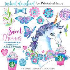 Cute Unicorn Clipart Starbucks Drink Planner Graphics Glitter Butterfly Clip Art Stickers PrintableHenry