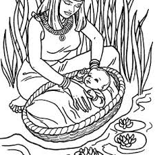 Moses Found Safely In River Of Nile Coloring Page