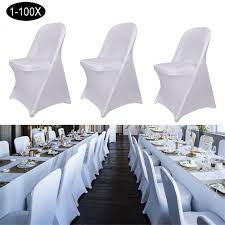 1-100X Folding Chair Cover White Sleek Spandex Universal ... Co Chair With Armrests Oak Chrome Lucite Folding Chairs Ding Side Sleek Metal Modern Design Set Of 4 Amazoncom Office Star Pack Kitchen Mainstays Memory Foam Butterfly Lounge Multiple Colors Oriestrendingcom Gaoxu Baby Small Backrest 50 Spandex Covers Wedding Party Banquet The Folding Chair A Staple Entertaing Season Highback White Ribbed Leather Rose Gold Base Executive Adjustable Swivel Quartz Cross Back Crazymbaclub Desk Organizer Shelf Rack Multipurpose Display For Home Bedroom