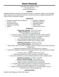 General Summary For Resume Examples Sample Of Warehouse Worker Clerk
