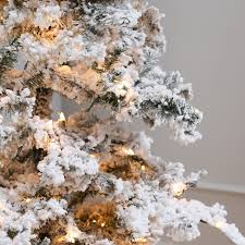 Hayneedle Flocked Christmas Trees by Heavy Flocked Layered Spruce Pre Lit Christmas Tree By Sterling
