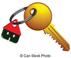 House And Key On The Same Ring Against White Background