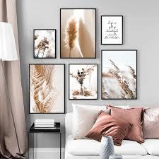 wand kunst leinwand malerei beige reed getrocknete blume