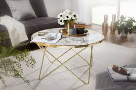 wohnling design couchtisch marmor optik weiß rund ø 85 cm gold metall gestell
