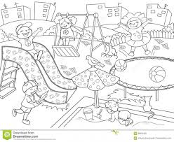 Childrens Playground Coloring Vector Illustration Of Black And