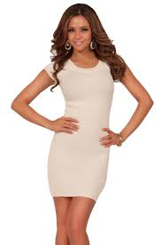 round scoop neckline short sleeve fitted tight cute fashion