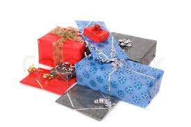 Christmass or birthday presents on the white background Stock