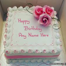 Square Happy Birthday Cake With Name