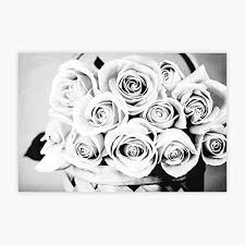 Rustic Canvas Flower Wall Print Large Roses Art Black White Flowers