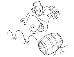 Ride Barrel Monkey Coloring Pages