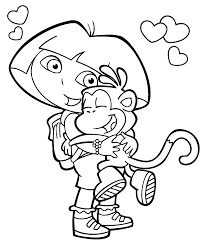 Dora Coloring Pages Boots Page Activity For Kids Free Book