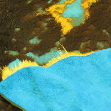 Sunland Home Decor Cowhide Rug by Acid Washed Cowhide Turquoise Orange Brown Extra Small