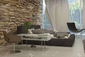 elegante tisch stühle und bed innerhalb eines architektur schlafzimmer mit glaswand für außenansicht