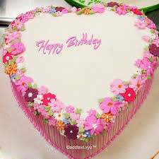 Floral Heart Birthday Cake for Lover