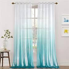 lindong farbverlauf voile vorhang transparent gardinen mit ösen dekoschal für wohnzimmer schlafzimmer 1er pack blau 100x160cm