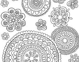 Printable Instant Download Adult Coloring Book Pages Hand Drawn Flower Art Doodle Flowers