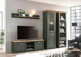 wohnwand cambridge 288cm grün wotan eiche anbauwand wohnzimmer schrankwand