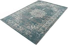 lifa living 133 x 200 cm vintage teppich für wohnzimmer und schlafzimmer wohnzimmerteppich mit muster orientalisch blau grau aus weicher wolle