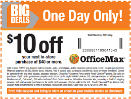 Flash Sale at fice Max Print this $10 off $40 Coupon Today ly