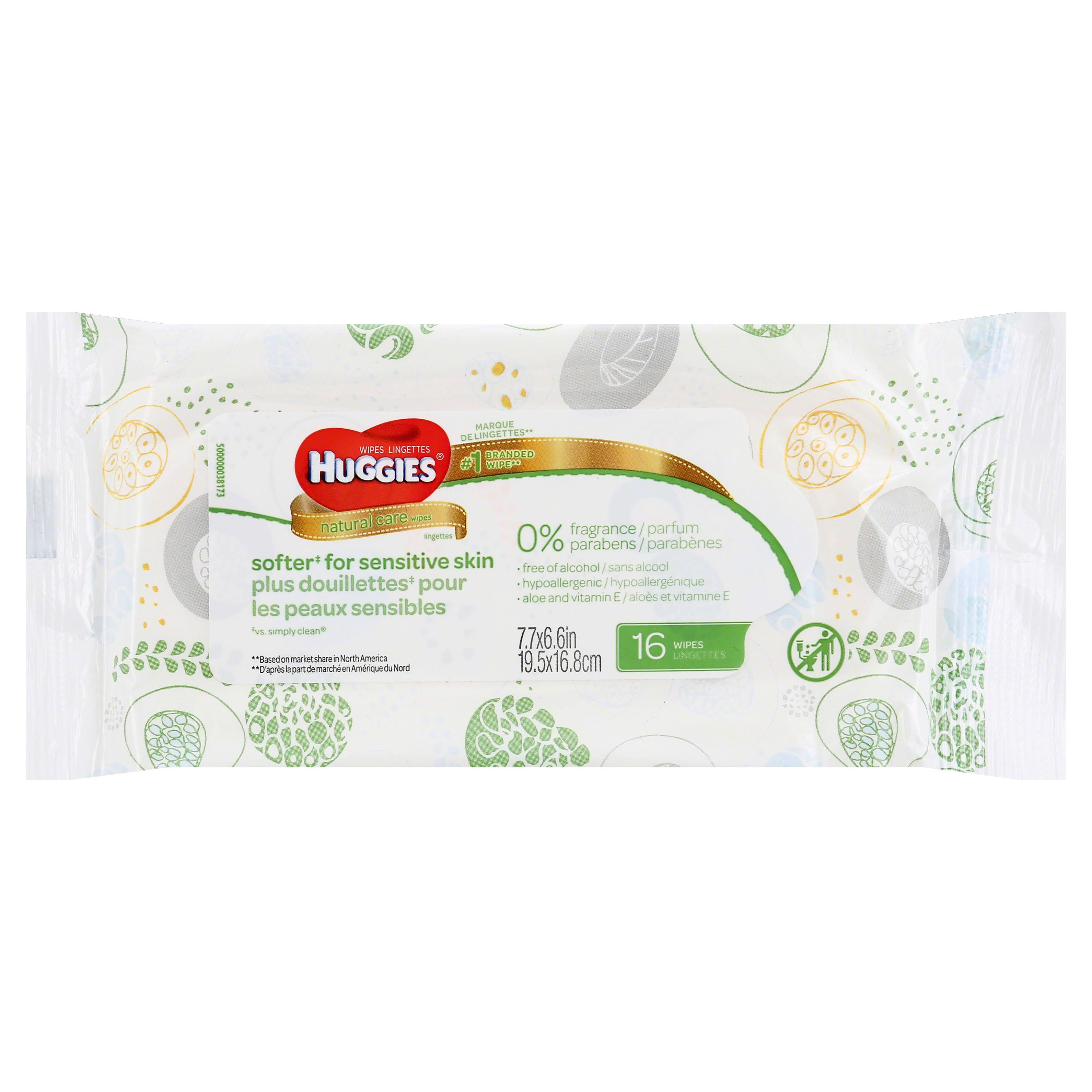 Huggies Natural Care Baby Wipes - Unscented, 16 Sheets