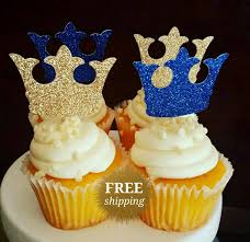 Prince Crown Cupcake Toppers Glitter Gold Royal Blue Baby Shower Decorations