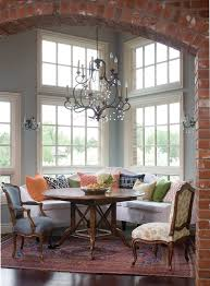 Banquette Breakfast Nook Dining Room Traditional With Round Table Brick Archway