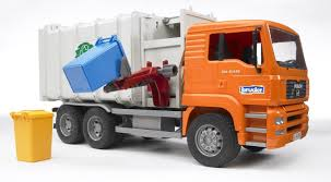 Amazon.com: Bruder Toys Man Side Loading Garbage Truck Orange: Toys ...