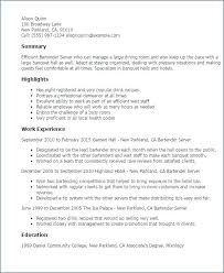 Server Resume Summary Banquet Example Examples Of Resumes Professional