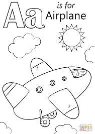 Letter A Is For Airplane Coloring Page