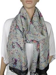 Large Japanese Vintage Style Bird Cherry Blossom Tree Print Scarf Wrap Hijab Shawl Grey