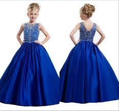 popular satin beading blue pageant dresses for girls buy cheap