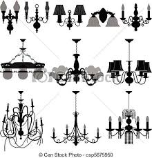Chandelier Light Lamp A Set Of And Wall Vector