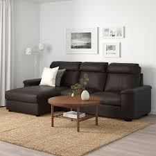 lidhult 3er sofa mit récamiere grann bomstad dunkelbraun