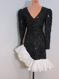 vintage 80s cha cha ruffle prom dress betsy adam 3 4 sequin lace