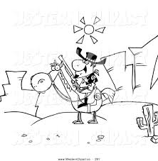 Vector Western Clip Art Of A Coloring Page Sheriff On Horseback In Desert