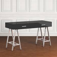 Walker Edison 3 Piece Contemporary Desk by Walker Edison Furniture Company 42 In White Hairpin Leg Wood