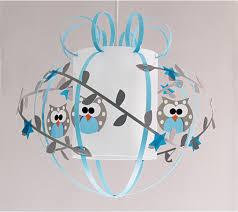 lustre chambre bebe fille plafonnier enfant hiboux gris bleu fabrique casse noisette