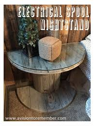 electrical wooden spool bedside table on a vision to remember