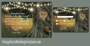 Dreamy Grandfather Oak Tree Wedding Invitations With Twinkle Lights And Carved Heart A Sunset Watercolor Background