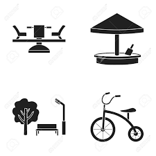 Carousel Sandbox Park Tricycle Playground Set Collection Icons In Black Style Vector