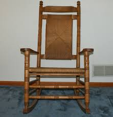 Solid Oak Rocking Chair With Woven Rush Seat And Back EBTH ...