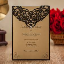 Wedding Invitatons With Rhinestone Black Laser Cut Invitation Cards For Birthday Party Favors Envelope Stock In USA LA825 Event From Home